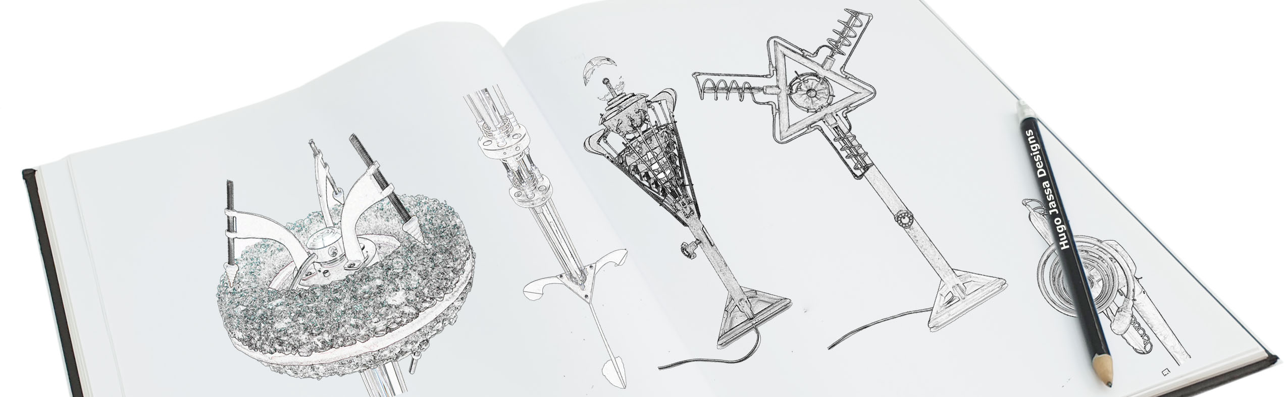 Drawing book with Hugo's designs
