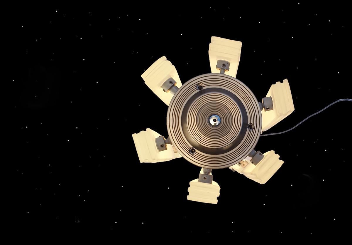Satellite Light Sculpture in space