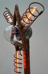 Side view of the light sculpture
