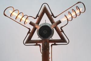 Upper rear view of Tridua Light Sculpture